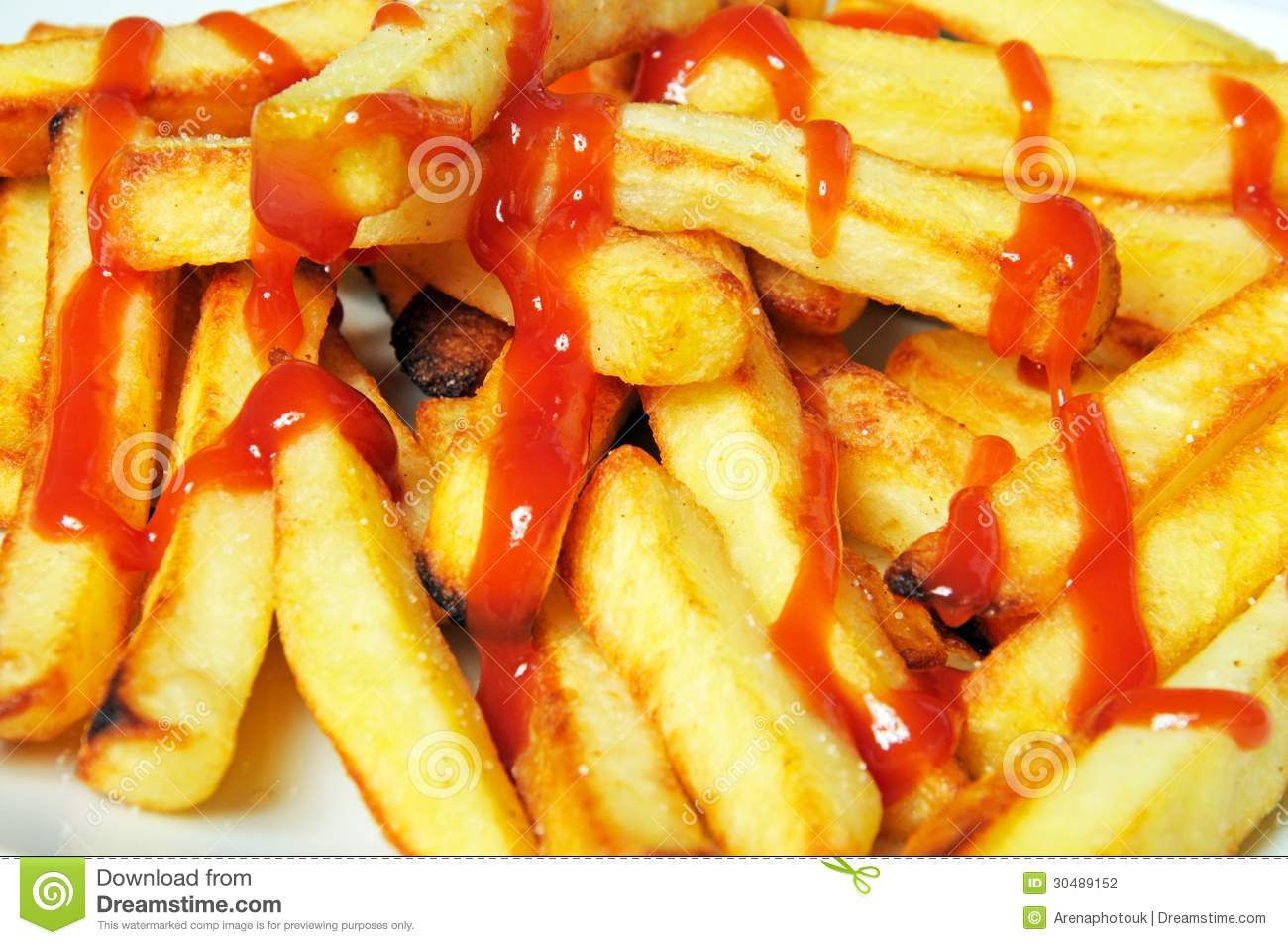 Chips With Tomato Sauce. Stock Photography - Image: 30489152