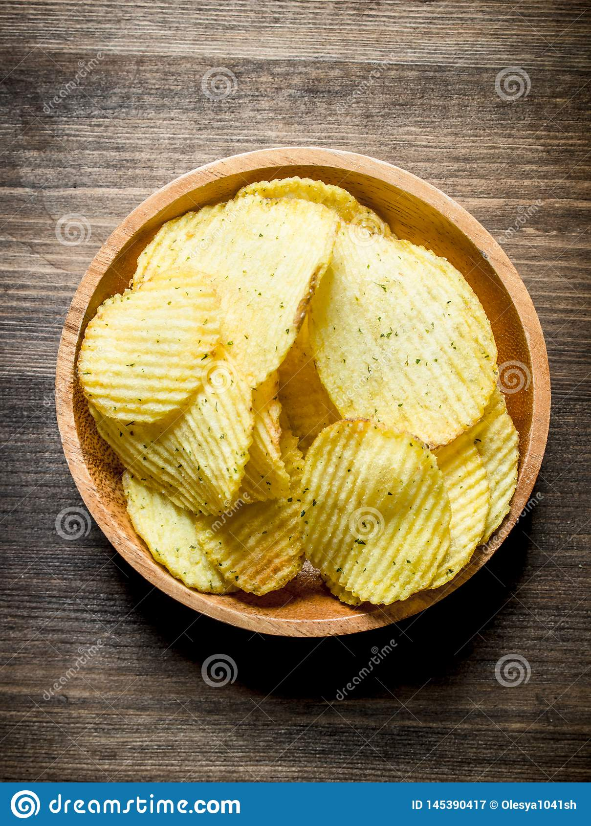 Chips In Wooden Bowl