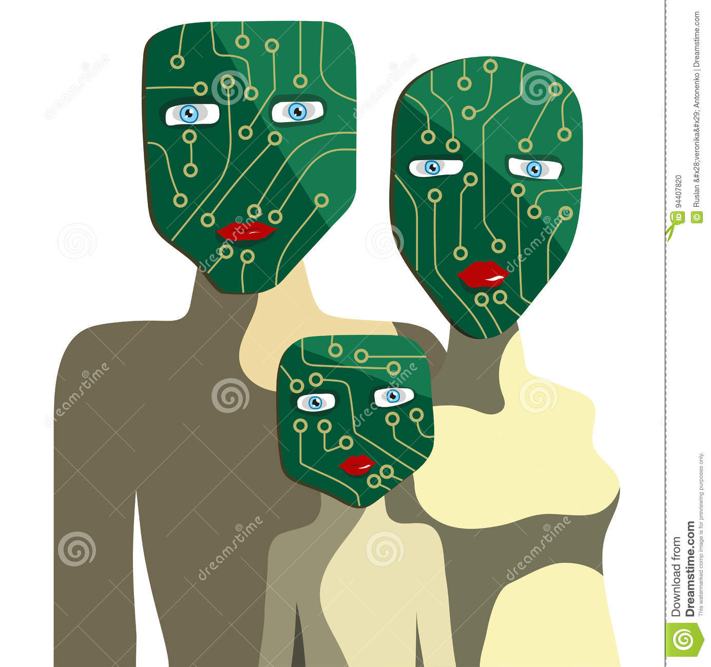 chipsetfamily people faces form chipset vector illustration 94407820