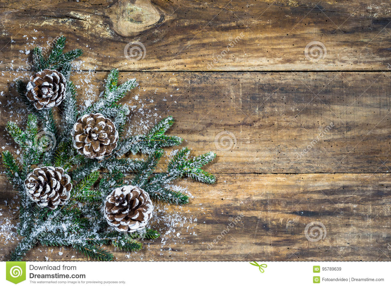 Chirstmas background with pine cones and fir tree branch