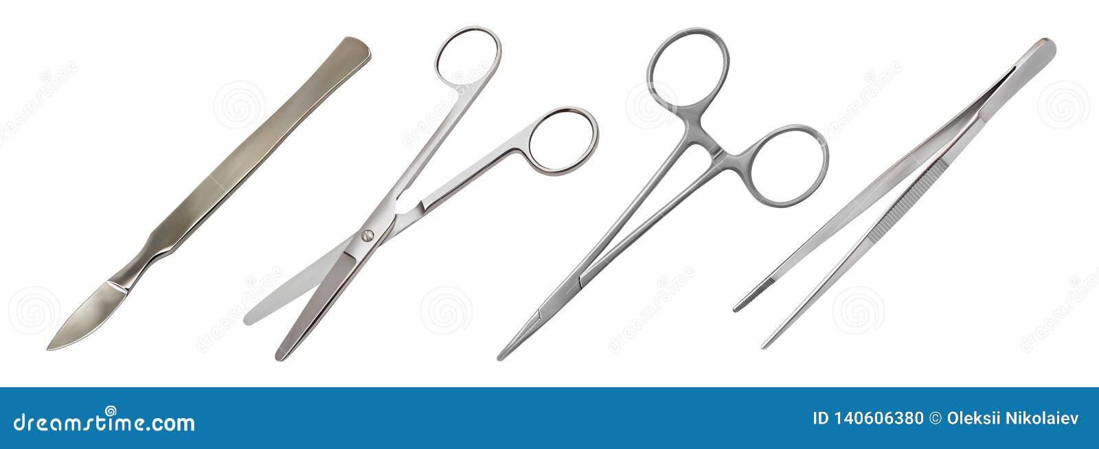 Chirurgicznie instrumentu set Metalu brzuszny reusable skalpel, prości nożyce, komara kahat, anatomiczne pincety