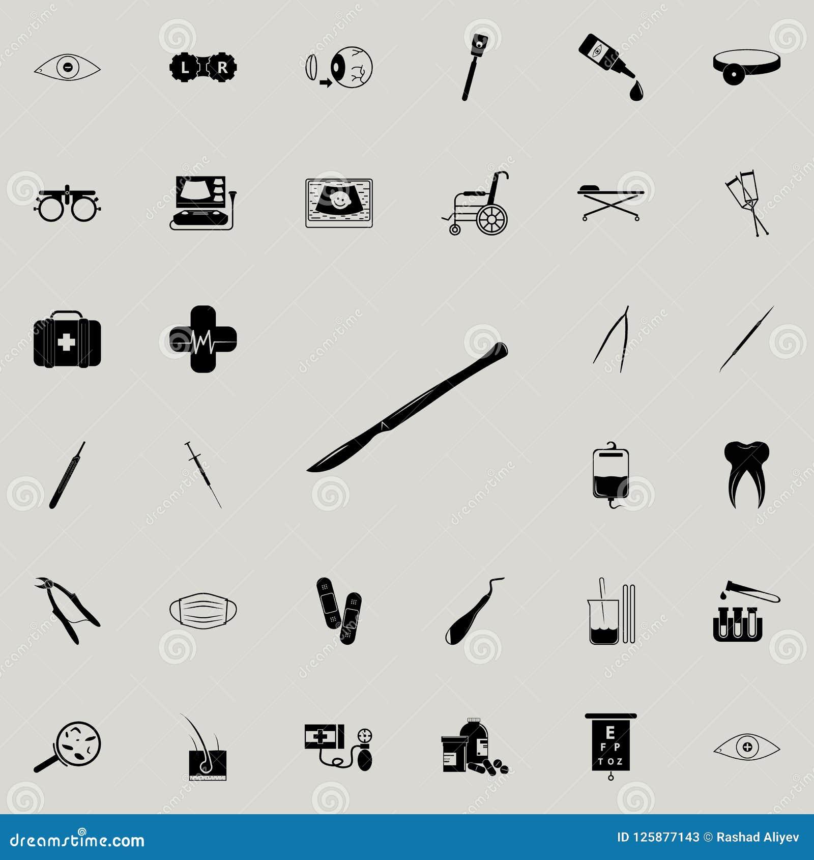 Chirurgicznie skalpel ikona Medycyn ikon ogólnoludzki ustawiający dla sieci i wiszącej ozdoby