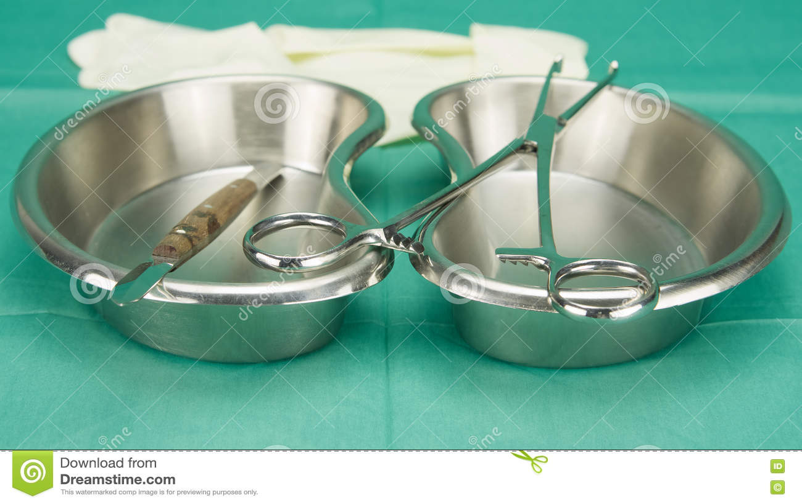 Chirurgische Klammer und das Messer, die auf Niere gesetzt wird, formen Schüssel