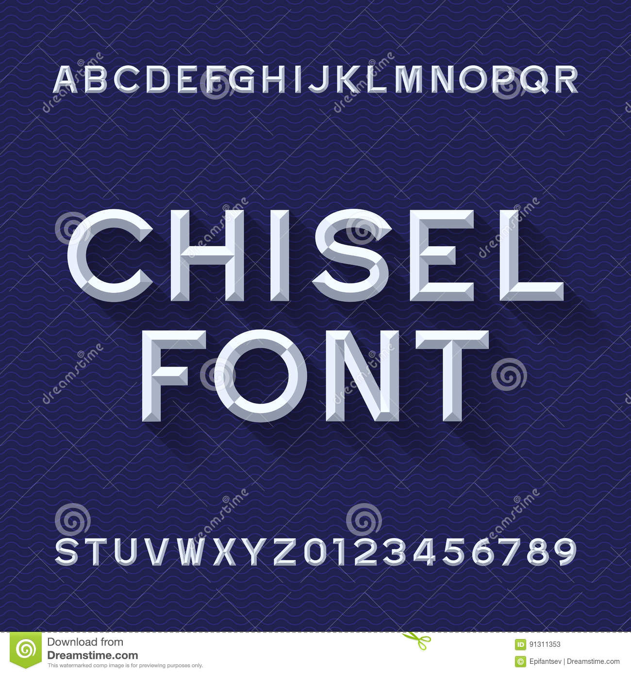 Chisel Alphabet Vector Font Type Letters And Numbers Blue Wave