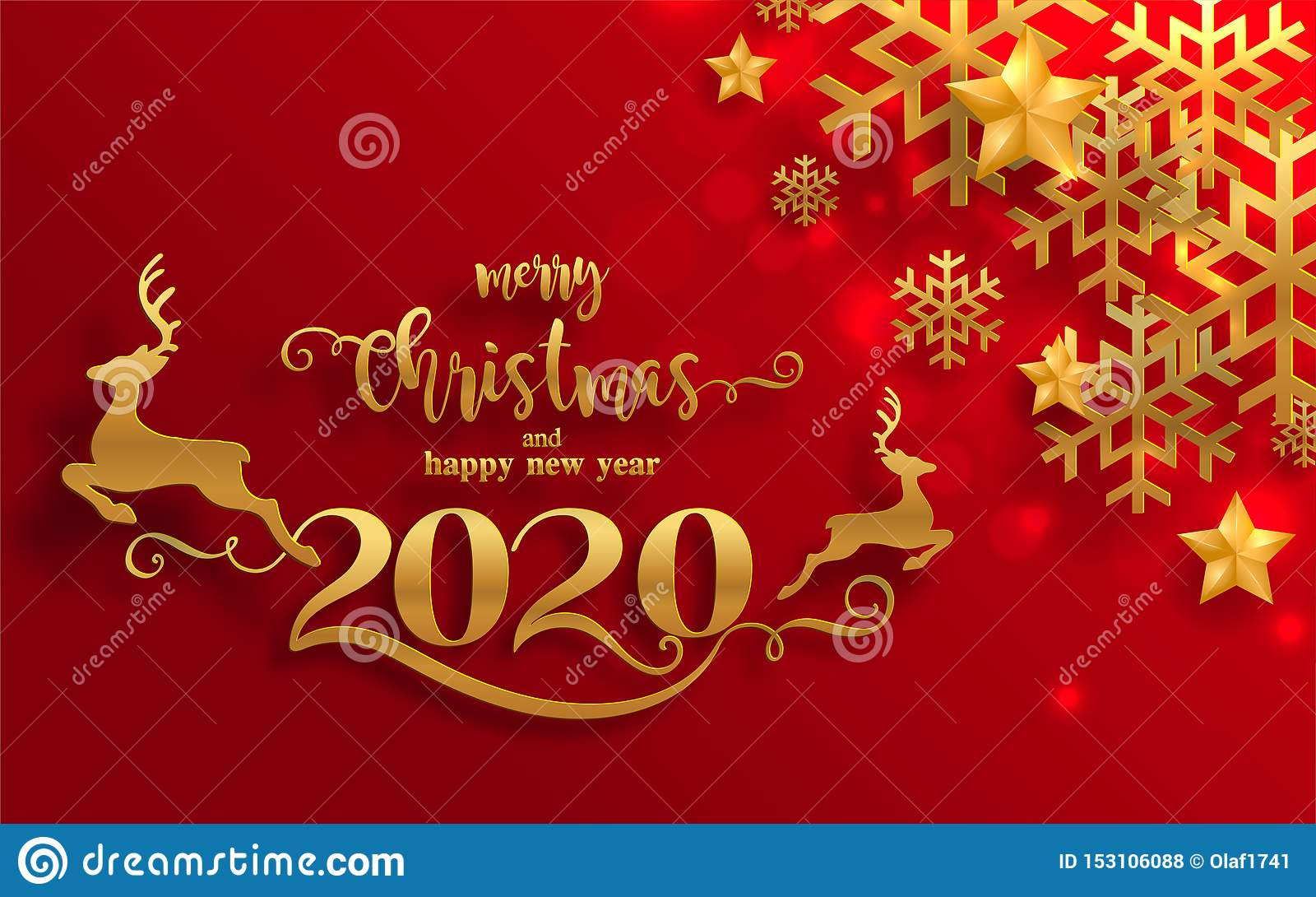 Free Christmas Postcard 2020 Merry Christmas Greetings And Happy New Year 2020 Stock Vector