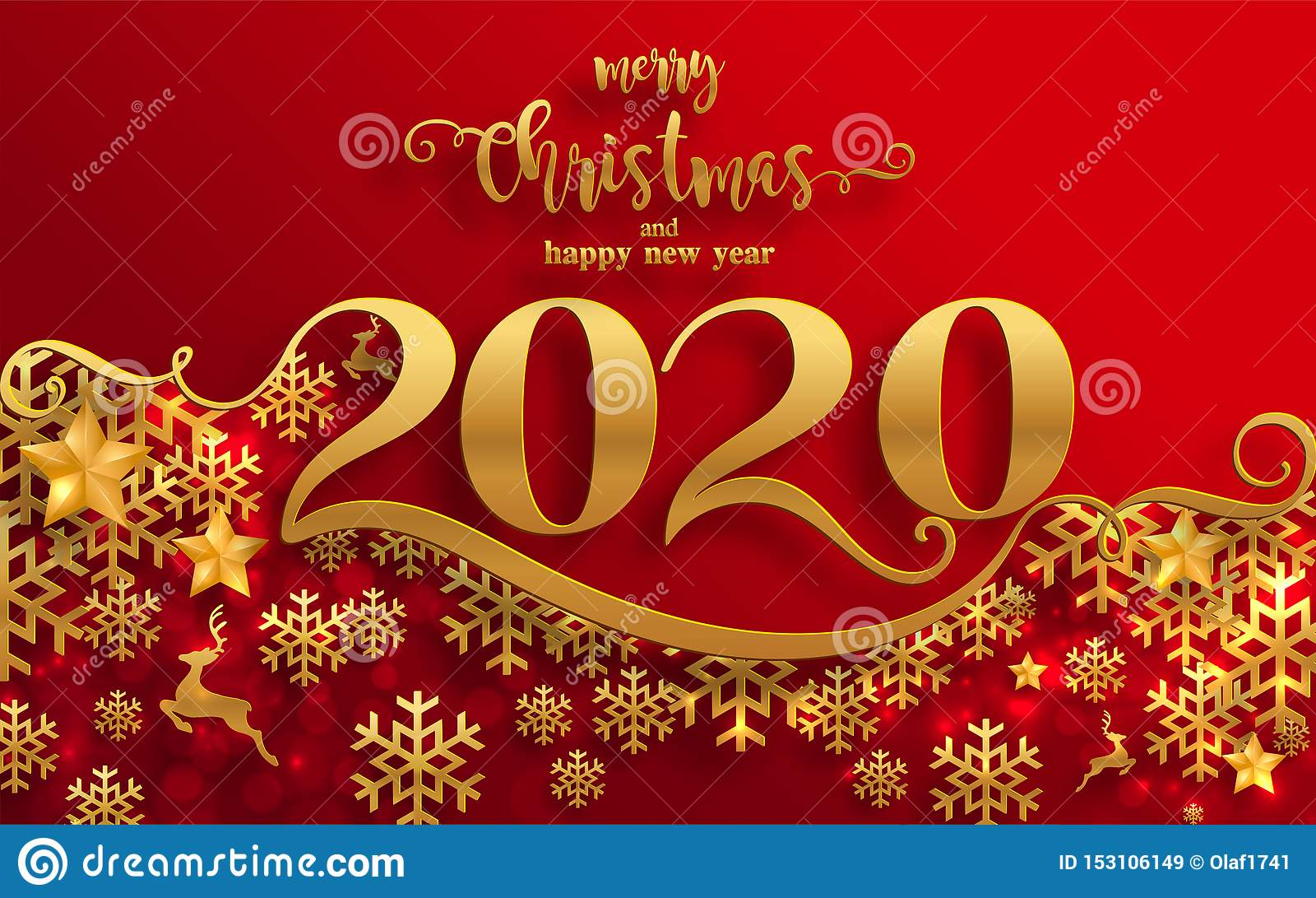 Merry Christmas Greetings And Happy New Year 2020 Stock ...