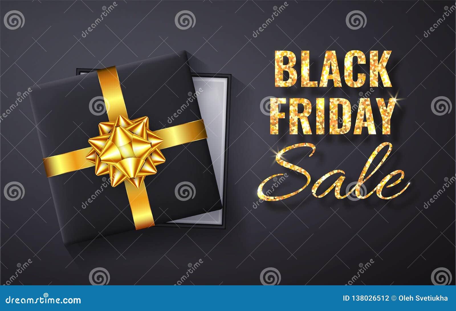 Chispa de oro del brillo de la venta de Black Friday Caja de regalo negra abierta con el arco del oro y la opinión de top de la c