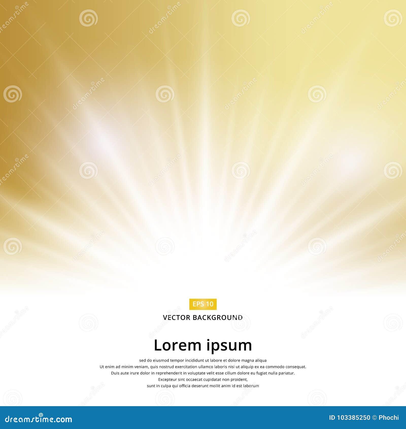 Chispa del efecto de la luz del sol en fondo del oro con el espacio de la copia