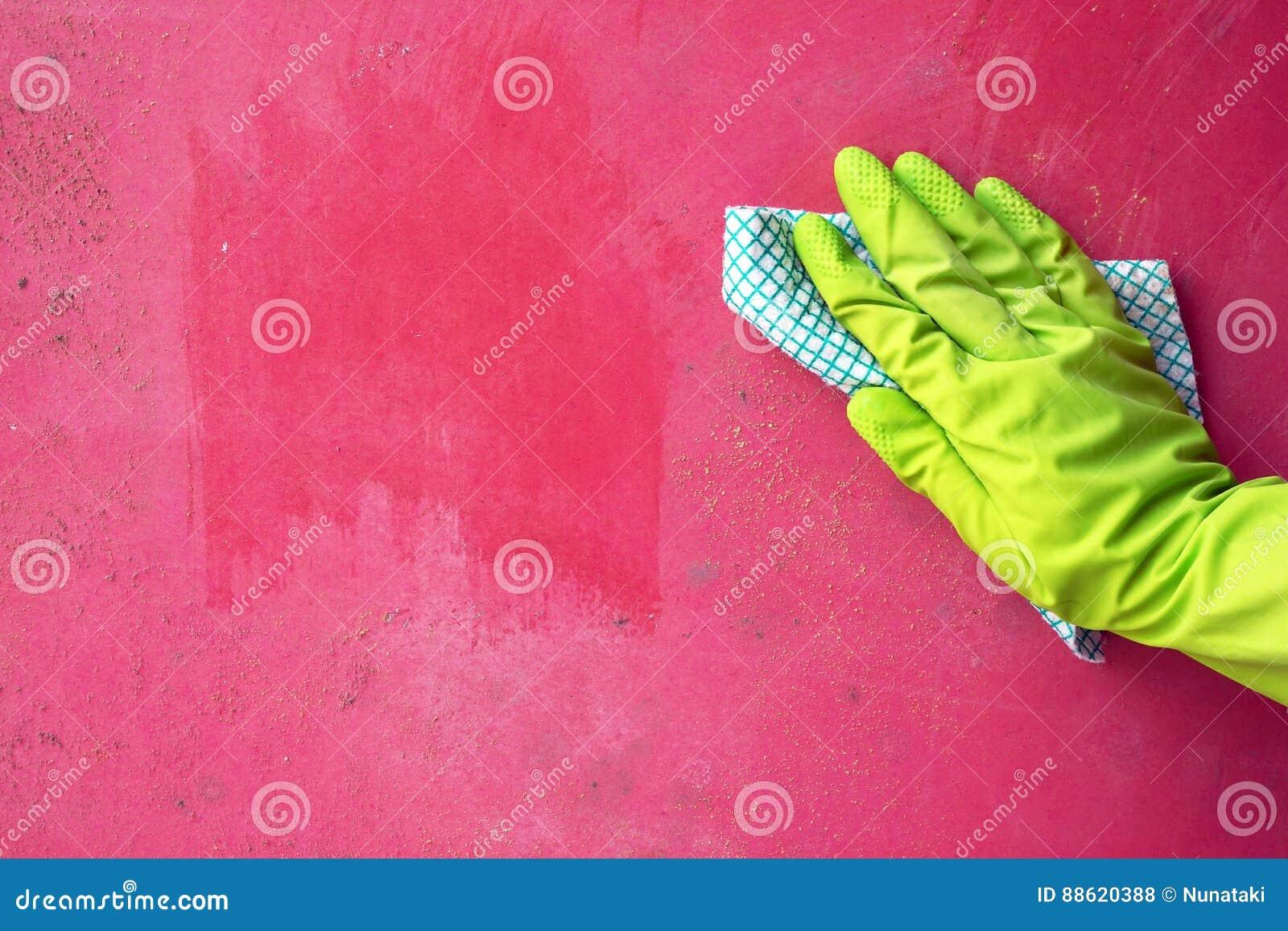 Chiuda su del fungo di muffa di pulizia della mano della persona dalla parete facendo uso dello straccio