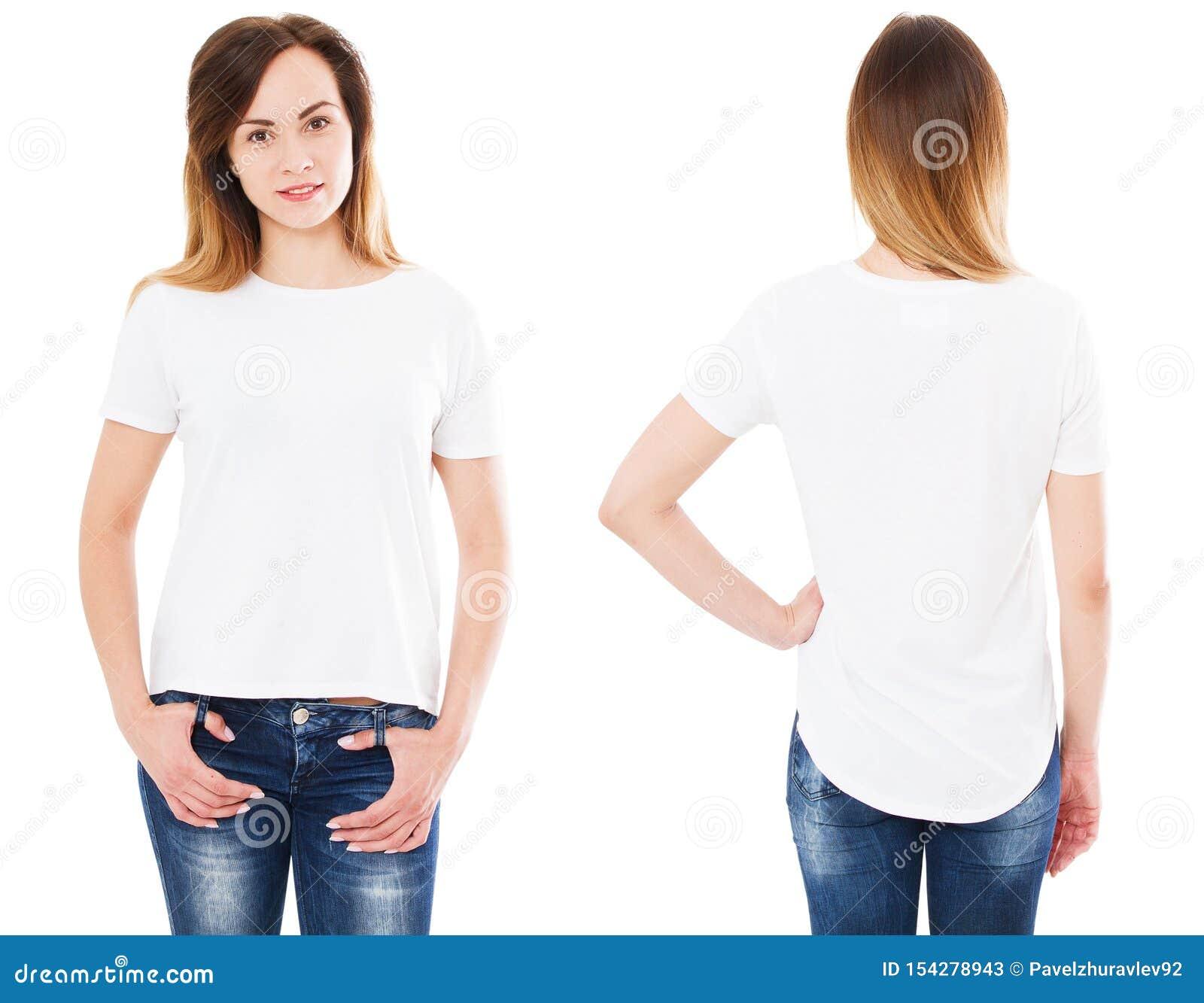 Chiuda su della giovane donna in maglietta bianca in bianco, la camicia, anteriore e posteriore isolata, ragazza in maglietta