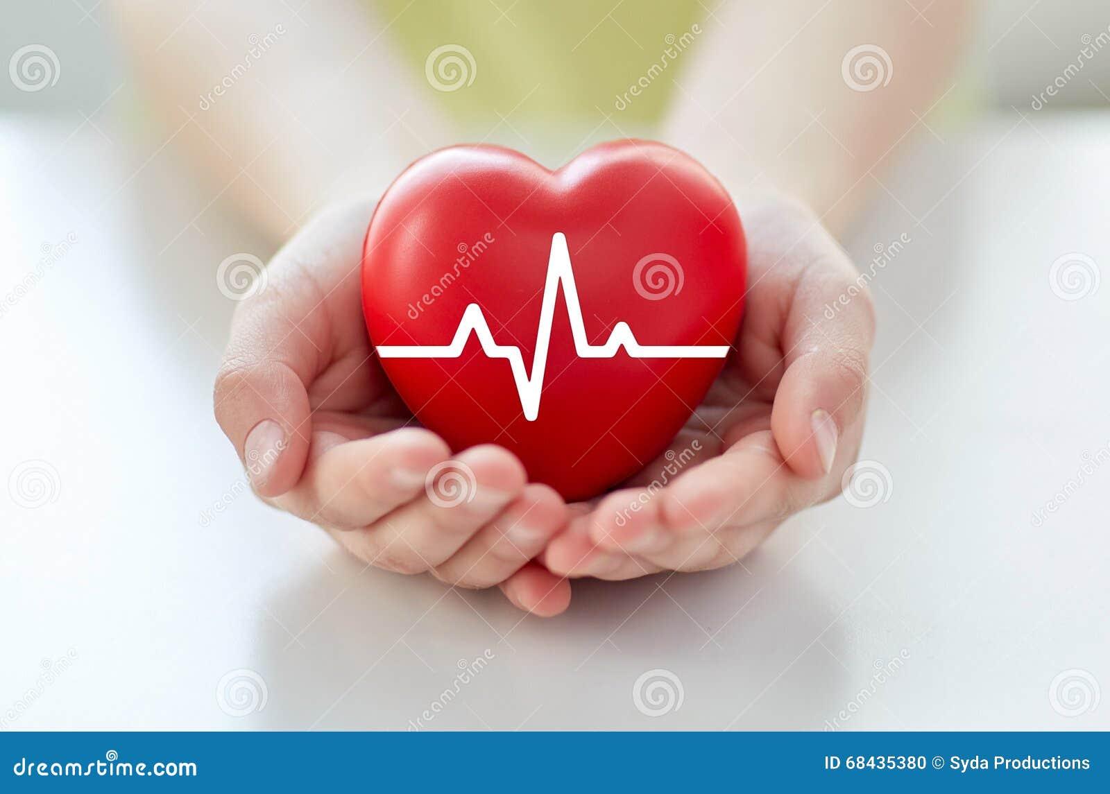 Chiuda su della mano con il cardiogramma su cuore rosso