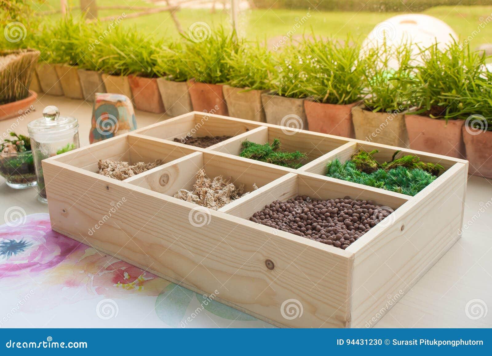 Decorazioni In Legno Per Giardino : Attrezzi da giardino impostato su un marrone tavolo in legno con