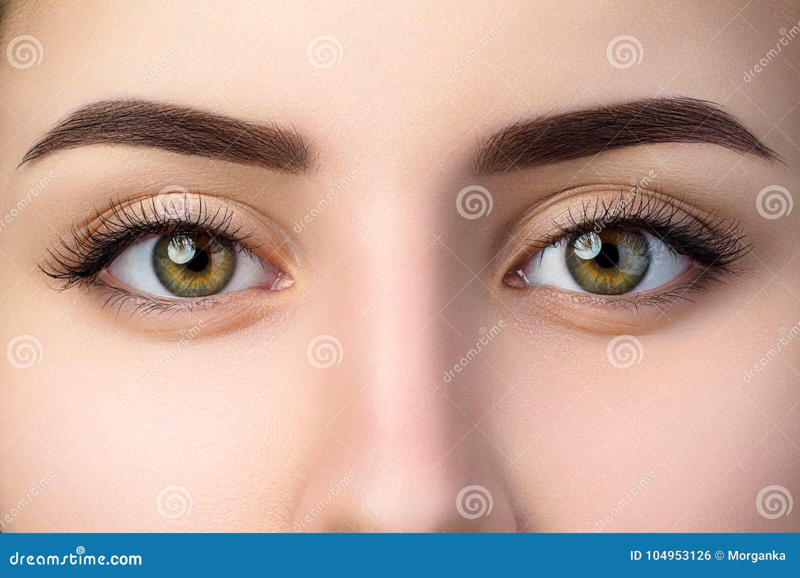 Chiuda sulla vista di bei occhi femminili marroni