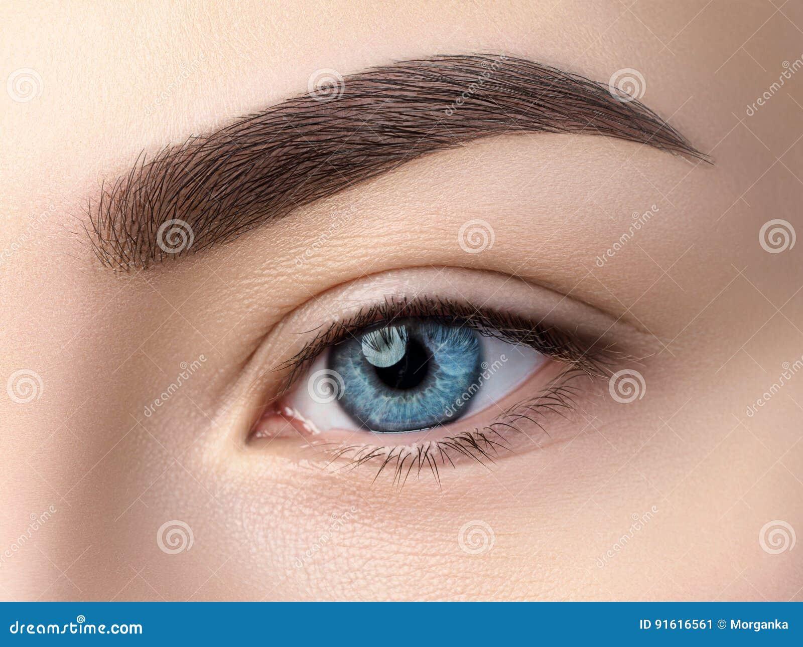 Chiuda sulla vista di bello occhio femminile blu