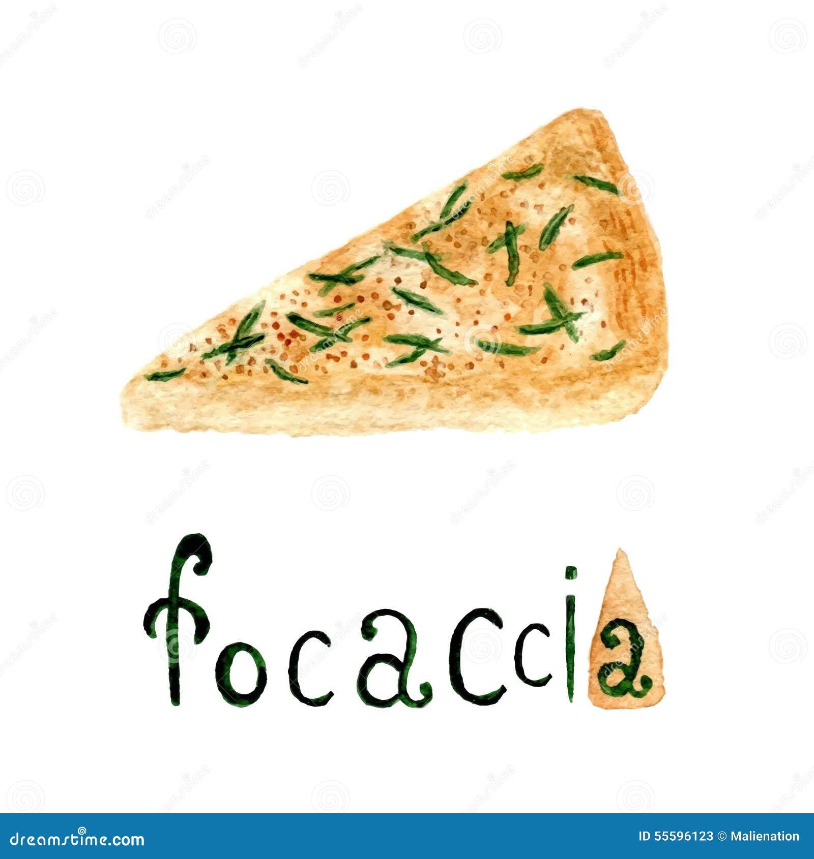 Chlebowi focaccia włocha rozmaryny Wektorowa akwareli jedzenia ilustracja Akwarela chleba produkt