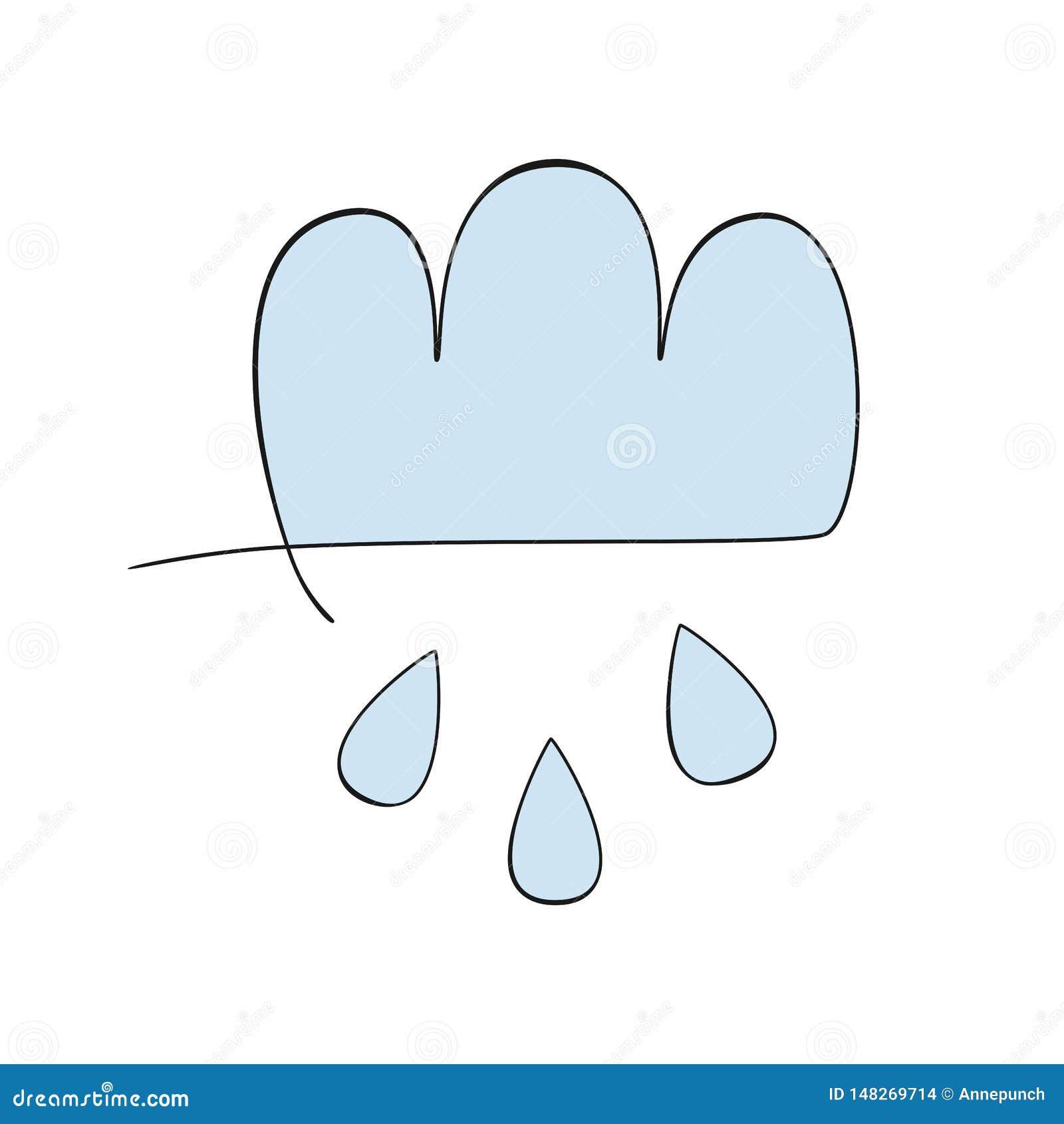 Chmura i raindrops rysujący ręcznie