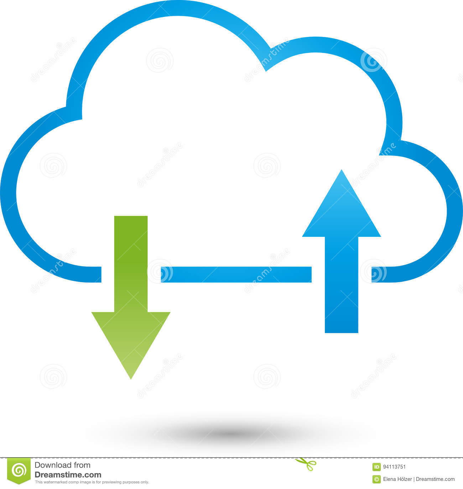 Chmura, strzała, IT usługa i Internetowy logo,