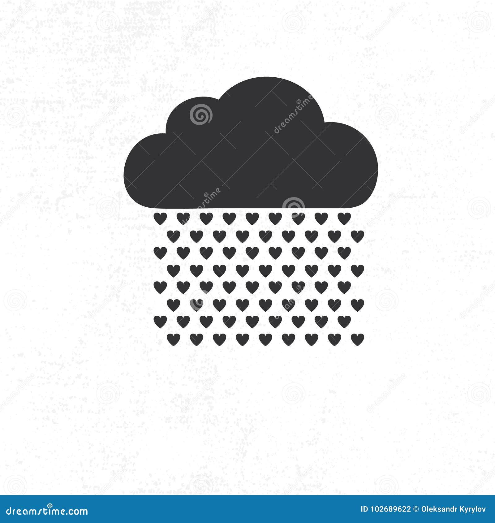 Chmura z serce deszczu kroplami