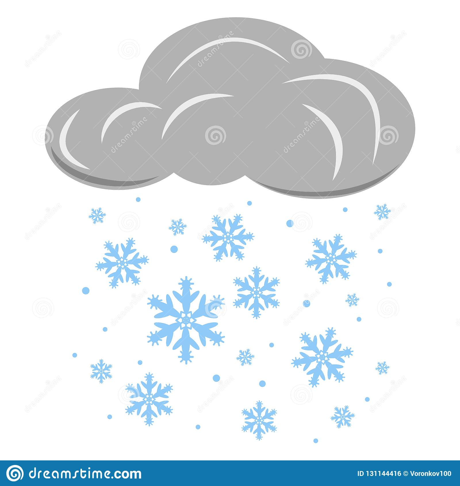 Chmura Z Spada Płatek śniegu Wektorowa Ilustracja Odizolowywająca ...
