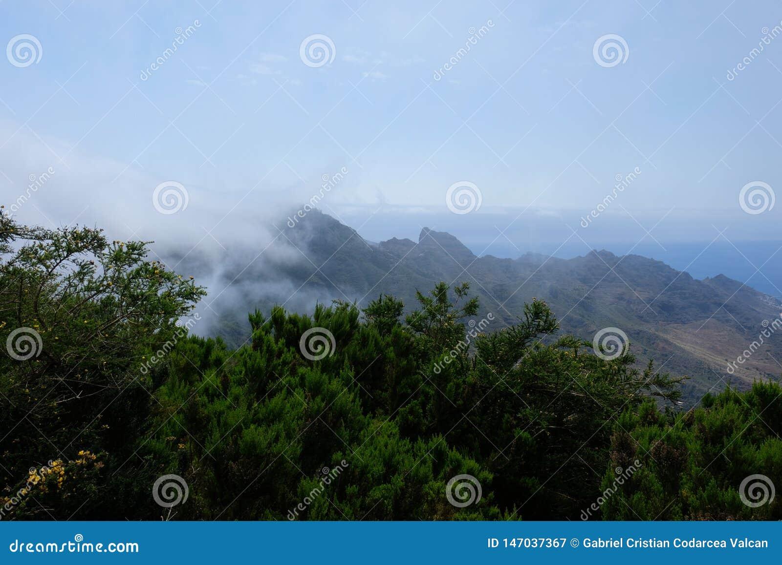 Chmurni widoki górscy z morzem na tle