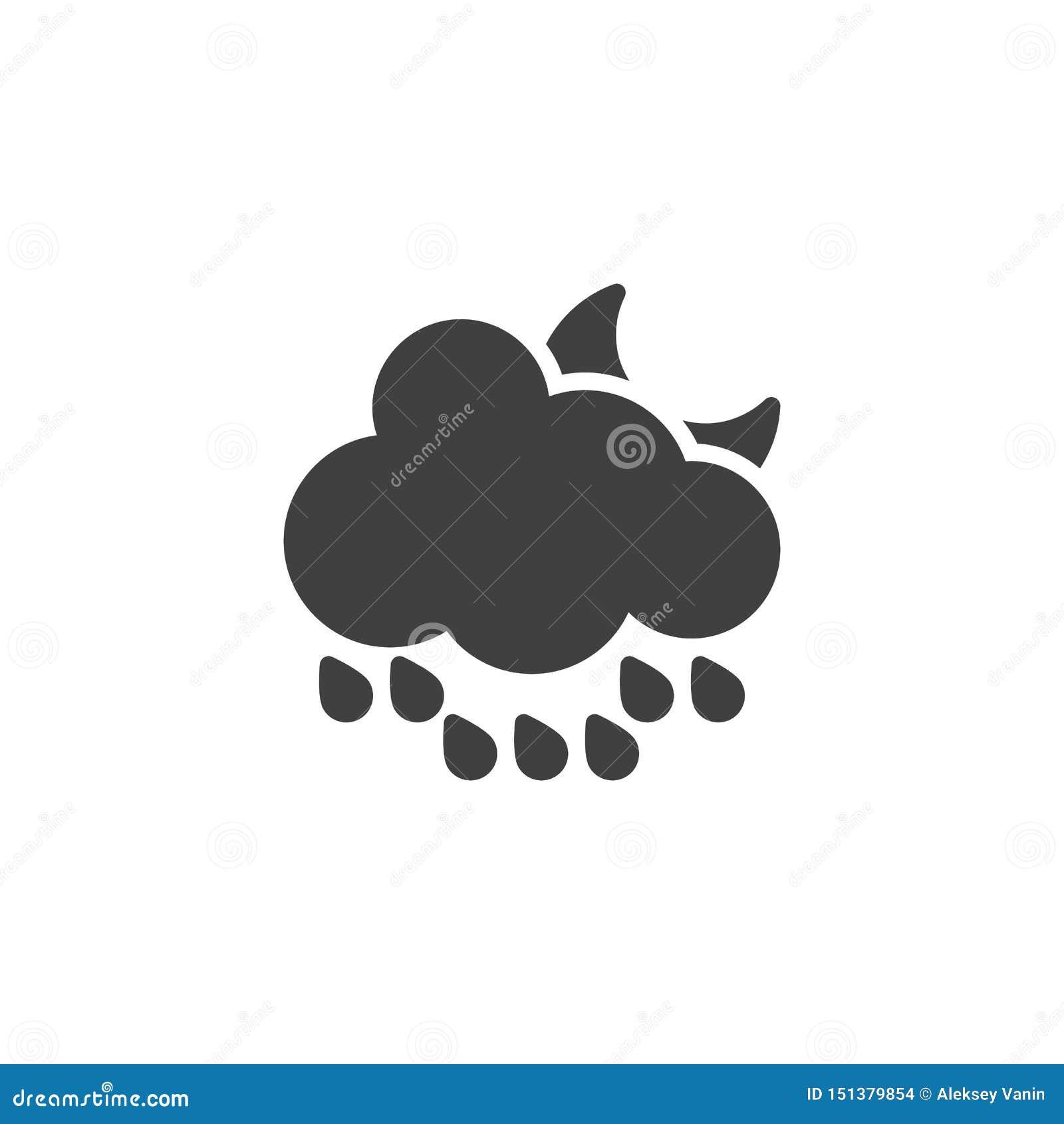 Chmurnieje z raindrops i półksiężyc księżyc wektoru ikoną