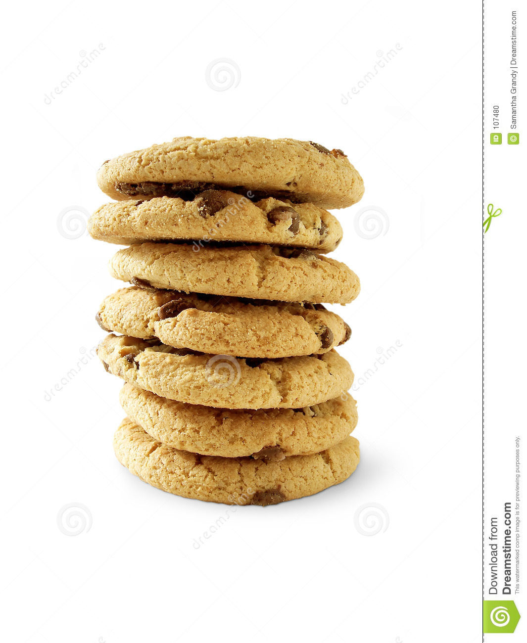 Download Choc Chip Cookies 6 (paht Included) Stock Photo - Image of fatty, dessert: 107480