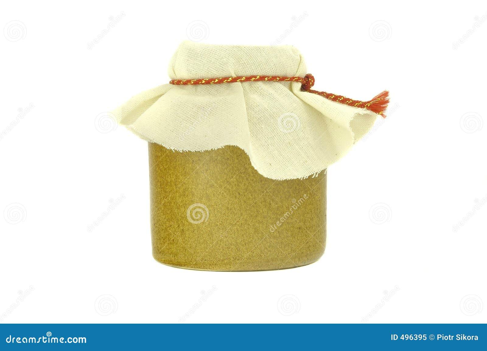 Choc de miel, sur le fond blanc