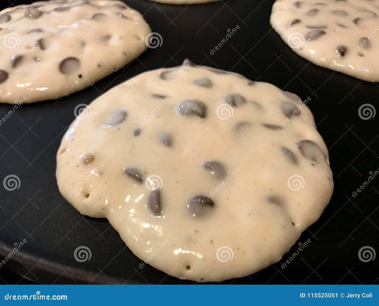 Chocolade Chip Pancakes op het Rooster