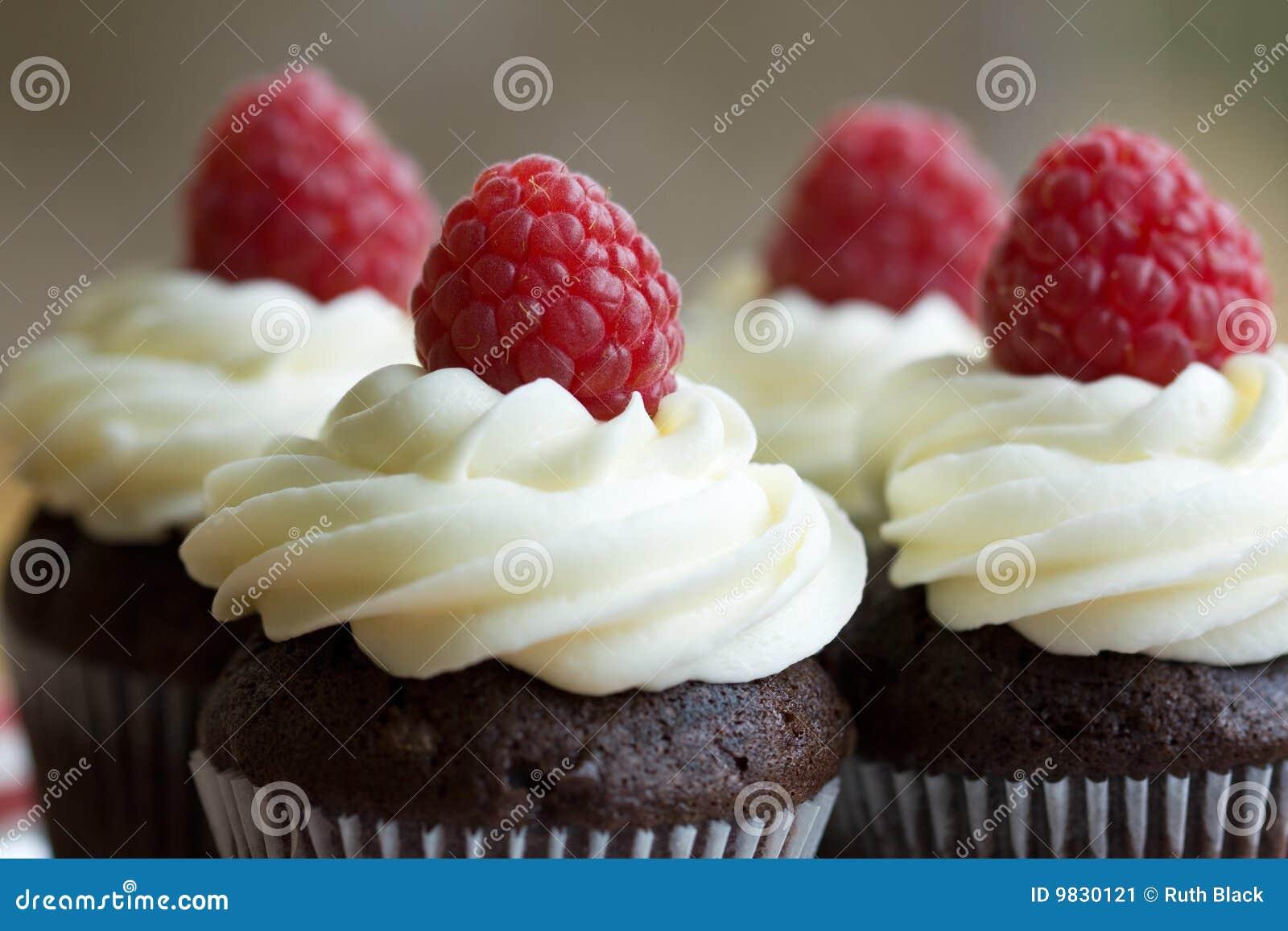 Chocolade en framboos cupcakes