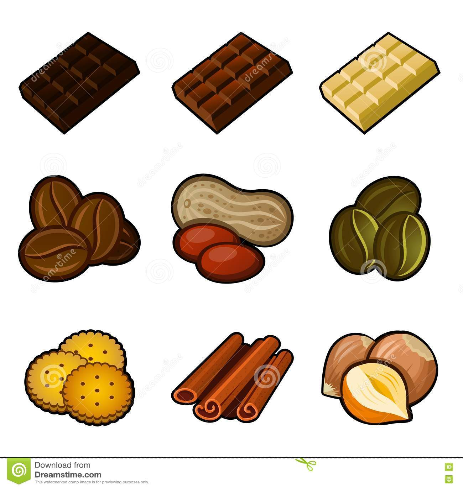 Chocolade en koffiepictogramreeks