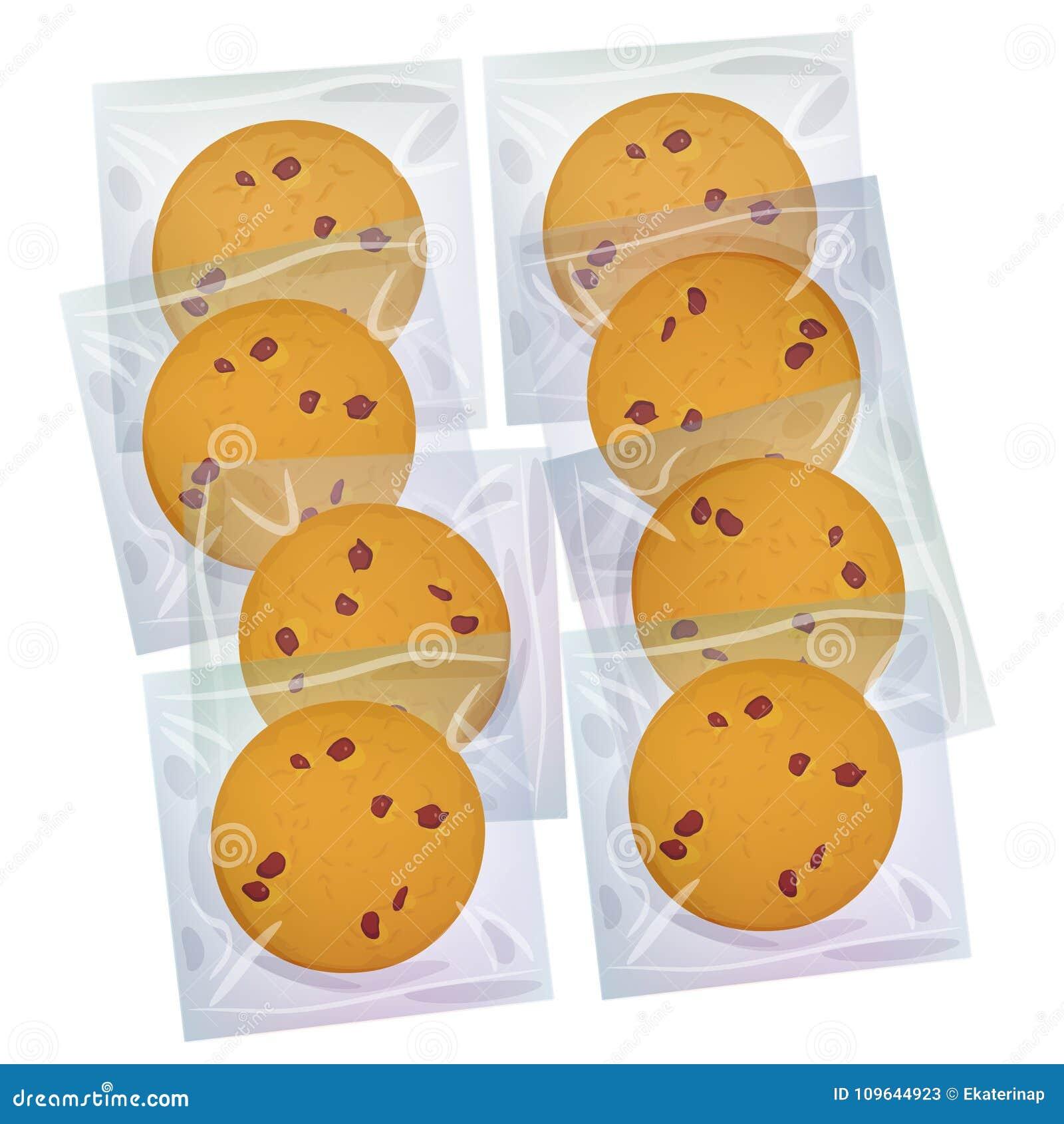Chocoladeschilferkoekje, vers gebakken Vier koekjes in transparant plastic die pakket op witte achtergrond wordt geïsoleerd Helde