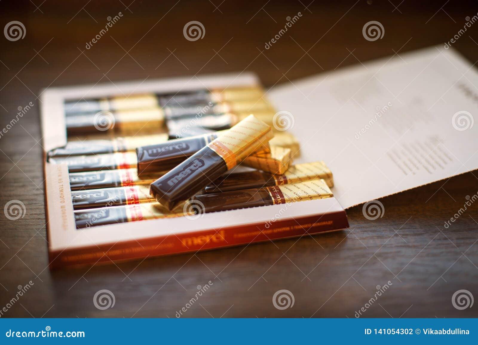 Chocolat de Merci - marque des bonbons au chocolat construite par la société allemande August Storck, vendu dans plus de 70 pays