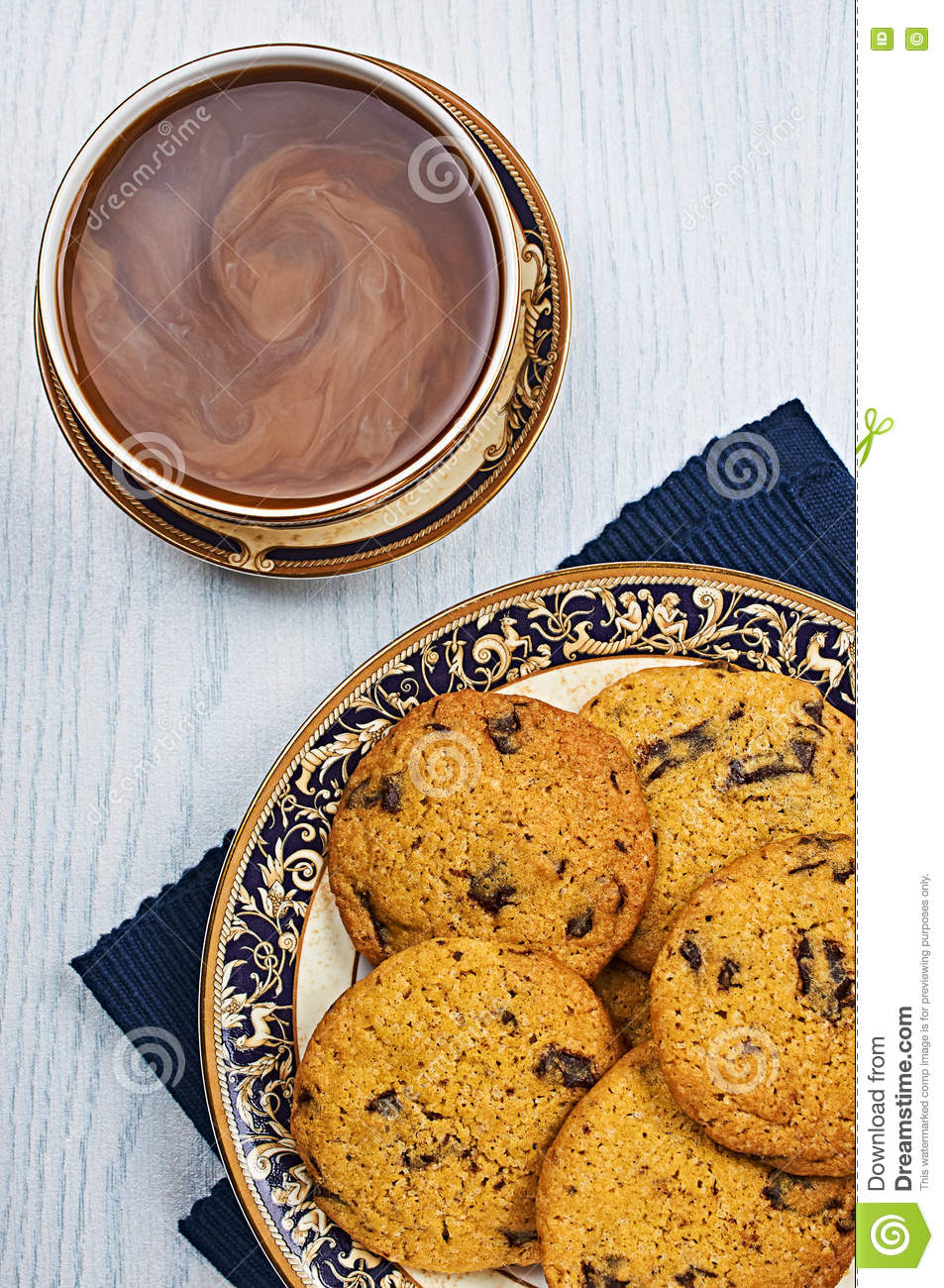 Chocolat mou et caoutchouteux Chip Cookies With Coffee