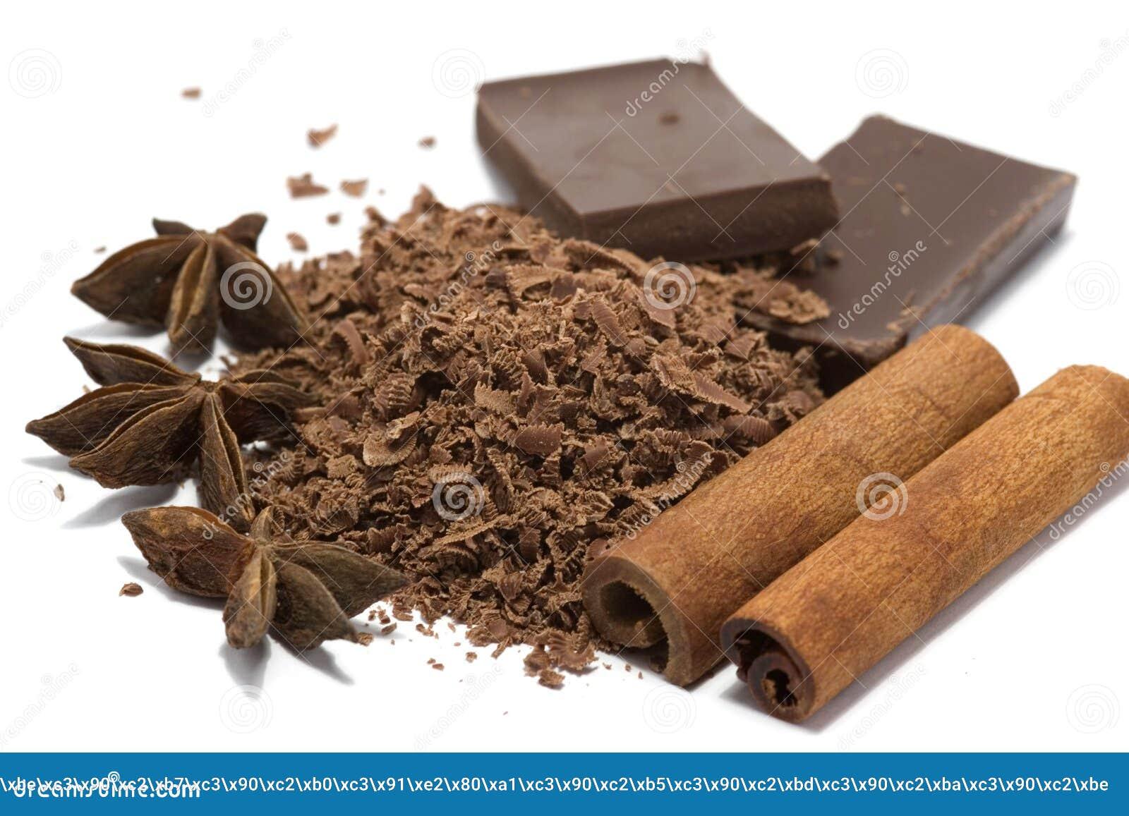 Chocolat râpé avec des épices