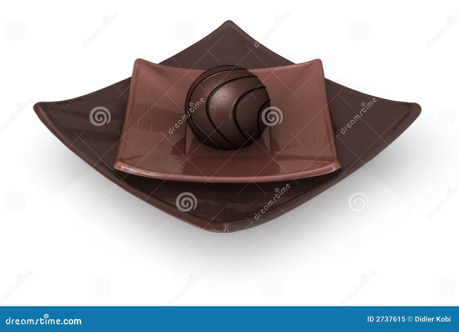 Chocolat sur le blanc