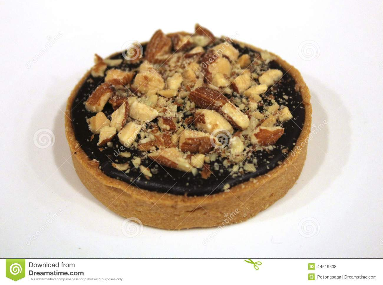 Chocolate Almond Tart Pastry on white plate background