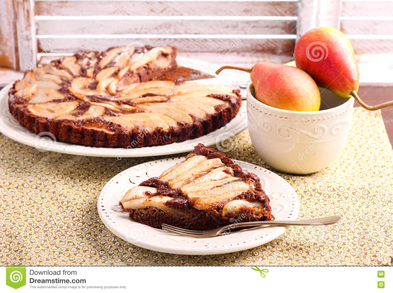 Download Chocolate And Almond Tart With Pear Stock Photo - Image of slice, chocolate: 74053018