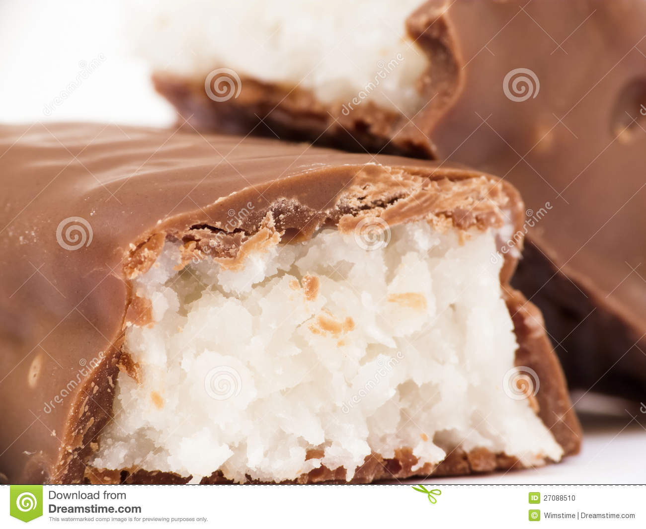 Chocolate Bar With Coconut Filling Macro Stock Photo - Image: 27088510