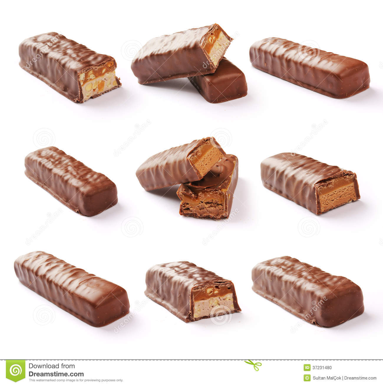 Chocolate Bar Set With Clipping Path Stock Photo - Image: 37231480