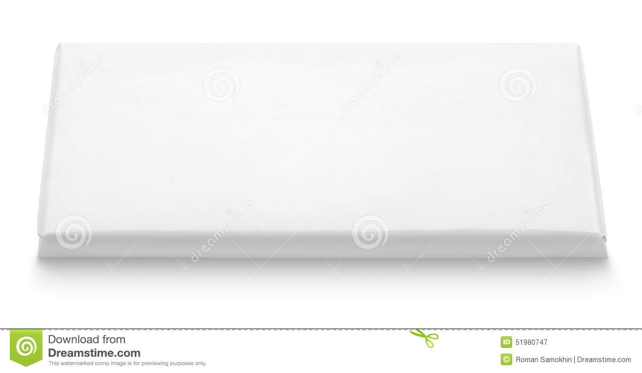 Chocolate Bar White Blank Package Template Stock Photo