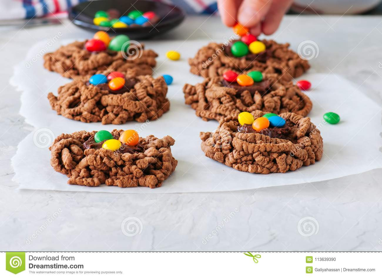 Chocolate Bird S Nest Cookies Decorated With Colorful Candies On
