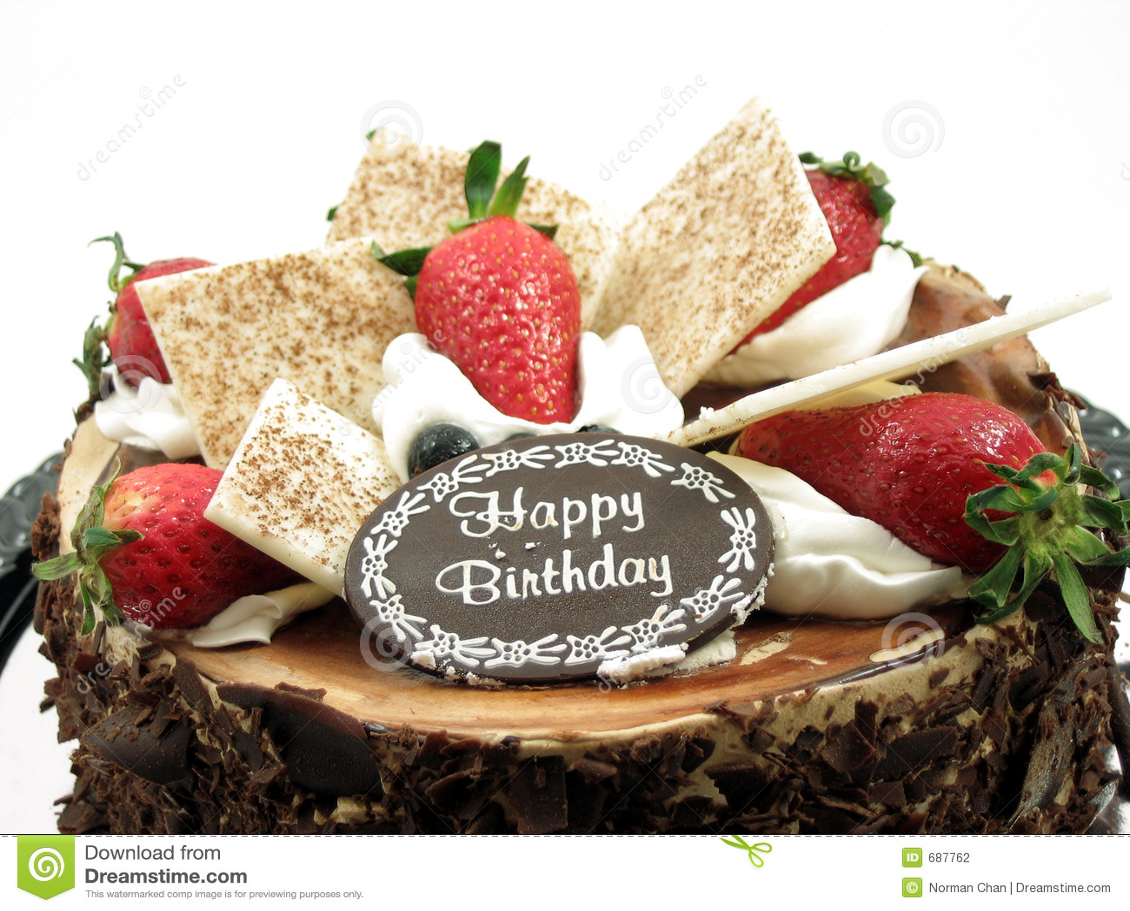 Chocolate Birthday Cake Stock Photo Image Of Happy Birthday 687762