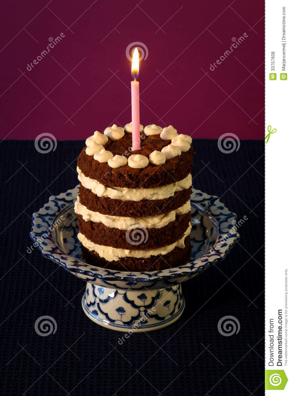 Chocolate Birthday Cake Burning Candle Stock Photo - Image ...