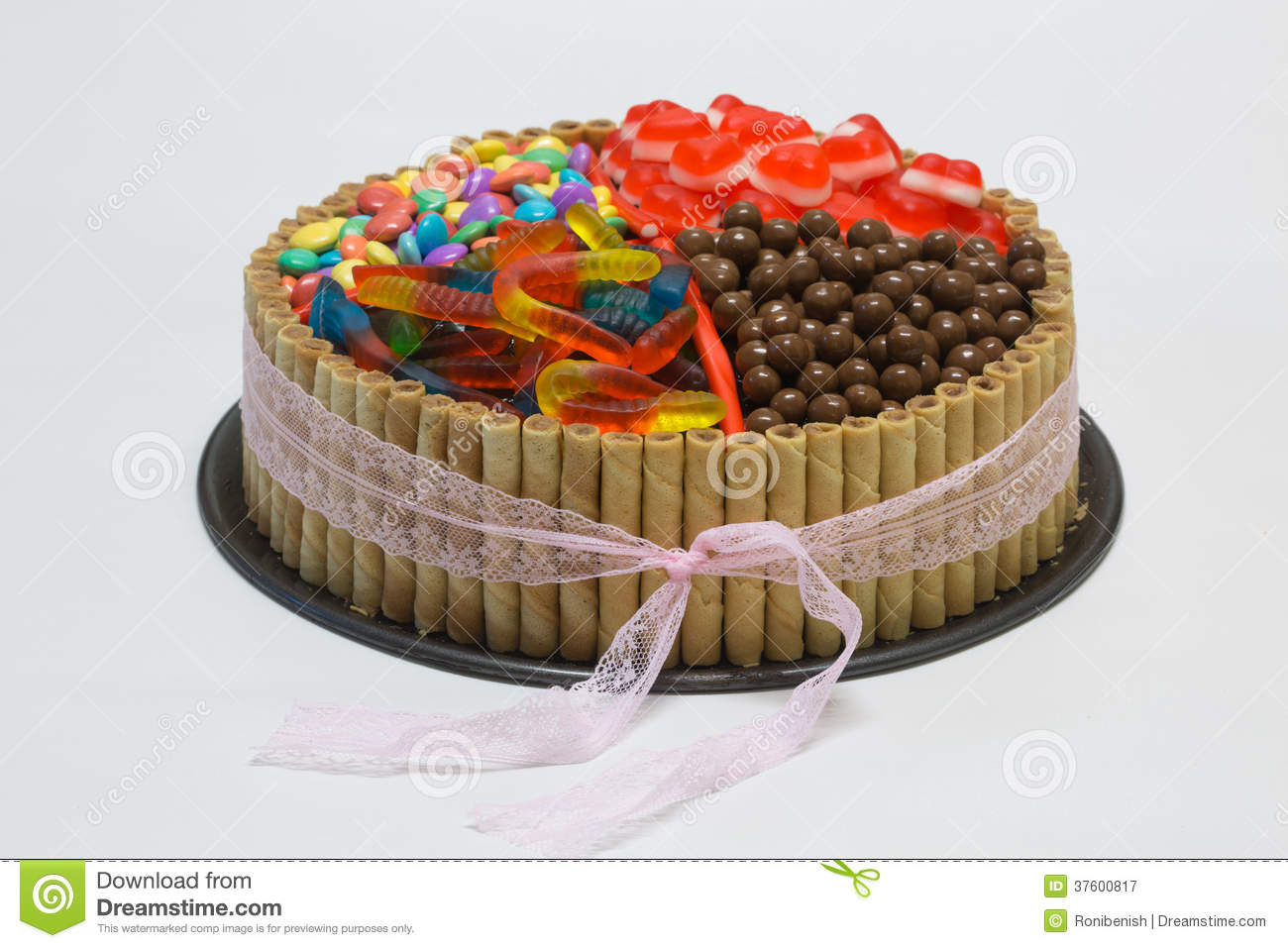 Chocolate Birthday Cake With Candy On Top Royalty Free