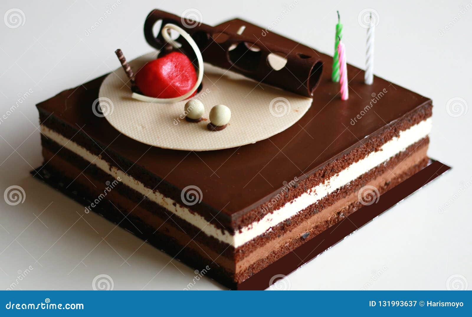 Chocolate Birthday Cake Stock Image Of Plate