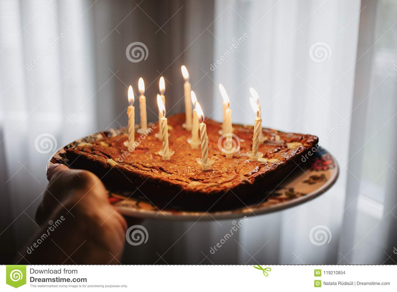 Pleasant Chocolate Birthday Cake With Eleven Candles Burning Stock Photo Birthday Cards Printable Trancafe Filternl
