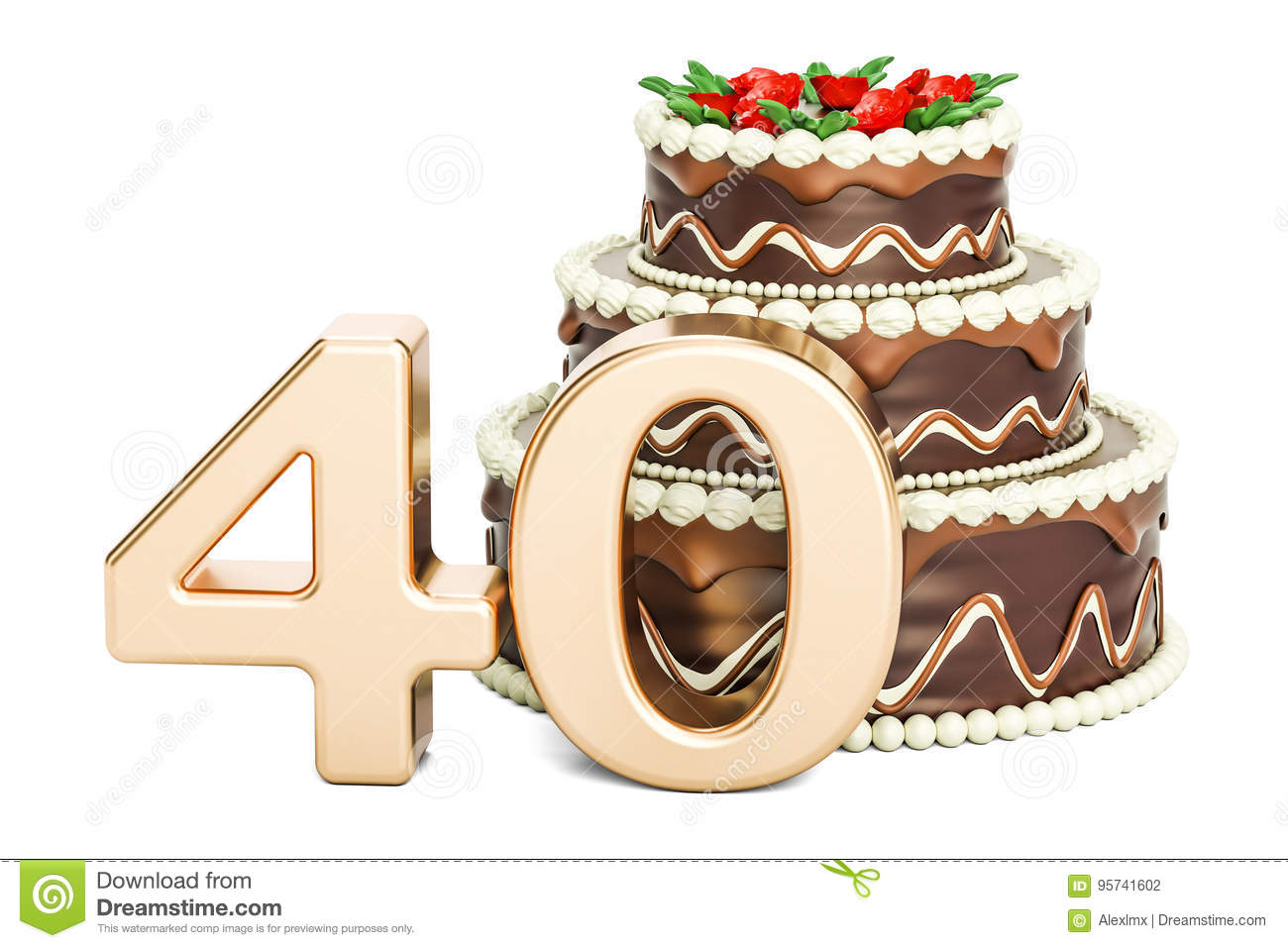 Chocolate Birthday Cake With Golden Number 40 3d Rendering Stock