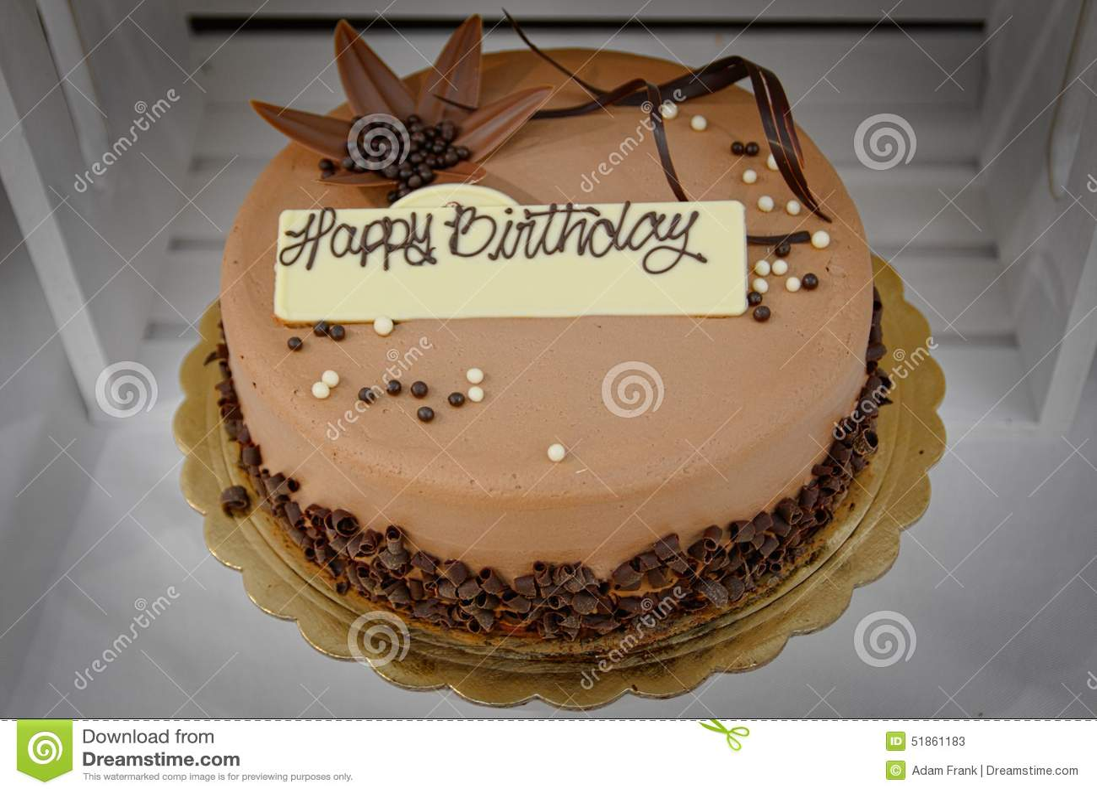 Chocolate Birthday Cake With Happy Sign Stock Image