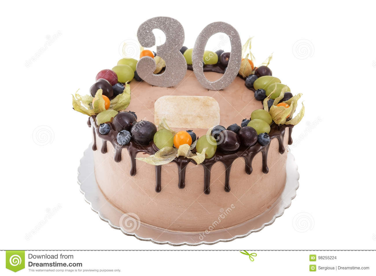 Terrific Chocolate Birthday Cake For A Man With Berries Stock Photo Funny Birthday Cards Online Elaedamsfinfo