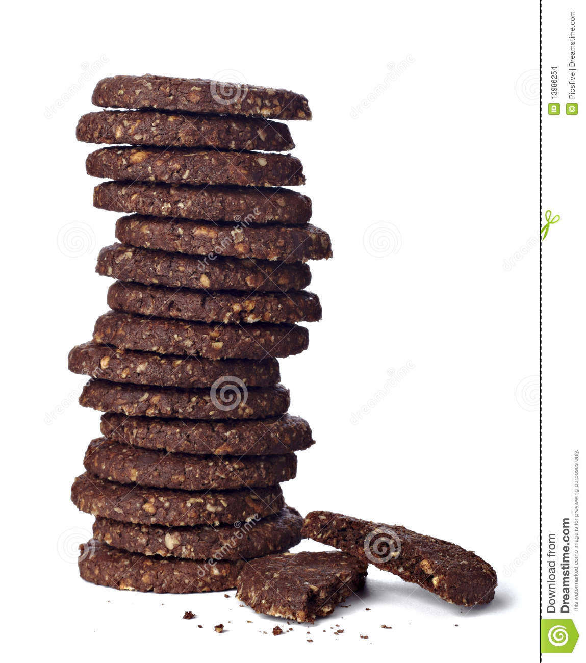 Close up of a chocolate biscuit on white background with clipping path ...